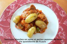 Saucisses blanches en sauce et petites pommes de terre
