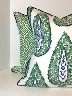 Lacefield Bindi Kelly Paisley with Piping in Pillow Covers, Shams and Valance
