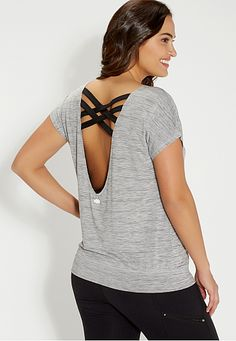 plus size spacedye top with strappy scoop back (original price, $29) available at #Maurices