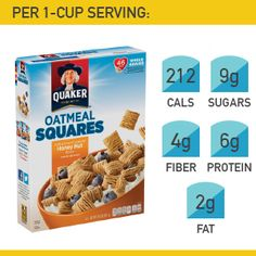 20. Quaker Honey Nut Oatmeal Squares #cereal #breakfast http://greatist.com/health/best-healthy-cereal-brands