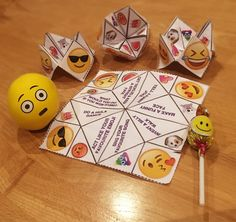 Emoji Cootie Catchers template, balloon stress balls, cheap easy party favour gift bag ideas
