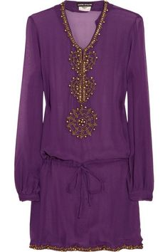 Purple and gold shirt dress