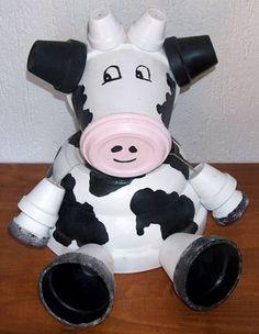 Koe van bloempotten