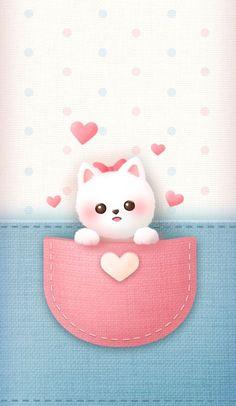 Pink Kitty Wallpaper, Puppy Wallpaper Iphone, Cute Cat Wallpaper, Cute Disney Wallpaper, Cute Cartoon Wallpapers, Girl Cartoon Characters, Cartoon Girl Images, Cute Kawaii Animals, Baby Animals Super Cute