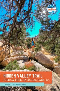 Hidden Valley Trail in Joshua Tree National Park by That Adventure Life. Hidden Valley Trail is an easy, short but beautiful introduction to Joshua Tree National Park in Southern California, with its plant, wildlife and rocky landscapes. A superb outdoor hiking adventure that is family friendly, this is a beautiful nature trail and easy California hiking trail to meander. Day trip here for your staycation or as part of your next US road trip travel itinerary. Read our blog now for more.