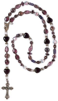 February is overflowing with purple for those born in the shortest month on this February Amethyst Birthstone Rosary. Beautiful amethyst beads of purple tiger-eye and a collection of various purple beads are combined to awaken our hearts to prayer. Amethyst Birthstone, Rosaries, Birthstones, Prayer, February, Beaded Necklace, Hearts, Eye, Purple