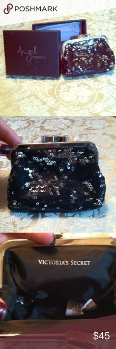 VS NEW IN BOX Sequin Change Purse Black sequin change purse with elegant snap-top from Victoria's Secret, new in box, tissue still inside! I hope that whoever buys this thoroughly enjoys it because it's beautiful! Victoria's Secret Bags