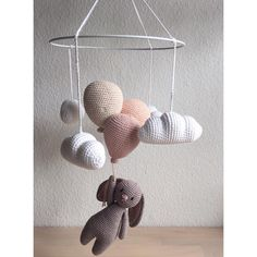This lovely crochet baby mobile with cute baby elephants, little good luck bringers for a newborn, makes a beautiful, one of Crochet Bunny, Cute Crochet, Crochet For Kids, Crochet Toys, Crochet Baby Mobiles, Crochet Mobile, Baby Barn, Baby Crib Mobile, Diy Décoration