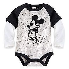 Mickey Mouse Vintage Double-Up Disney Cuddly Bodysuit for Baby | Disney Store There's no comparing to the original! Our comfy cotton bodysuit features double-up raglan sleeves and showcases vintage-era Mickey Mouse on a sweet speckled background.