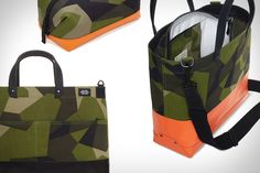 JACK SPADE SWEDISH M90 CAMO BAGS  Add a bit of military flair to your day with these Jack Spade Swedish M90 Camo Bags. Made from super-rugged Cordura, they feature a Swedish Army splinter camouflage pattern, custom Jack Spade hardware, and black or orange highlights. Other features include natural canvas lining, Waxwear trim, reinforced bottoms, and removable straps.