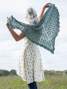 This triangular shawl knitting pattern is knit from the center-top down. A knitted-on edging is added in finishing. Pattern is charted.