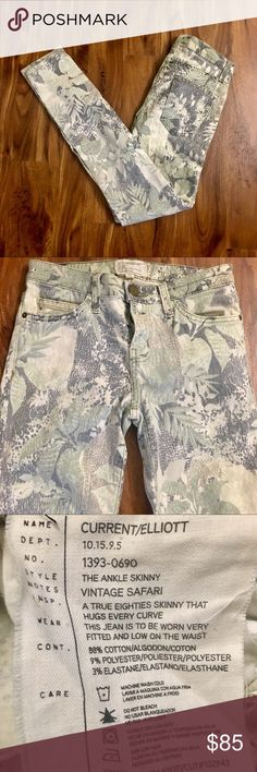 NWOT Current/Elliott Ankle Skinny Vintage Safari Beautiful and unique Current/Elliott The Ankle Skinny jeans in vintage jungle, size 26. NWOT; never worn. Dress these up or down! Offers welcome. Current/Elliott Jeans Skinny