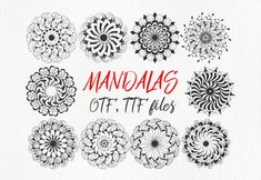 Mandings is a font that contains 52 unique hand drawn mandalas. Simply install the font and type any of the. Dingbat Fonts, Font Squirrel, Creative Sketches, Creative Fonts, Paint Markers, Premium Fonts, Pencil Illustration, All Fonts, Business Card Logo