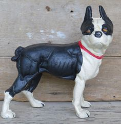 CAST IRON DOG DOORSTOP Large French Bull Statue Metal Boston Terrier Puppy HEAVY