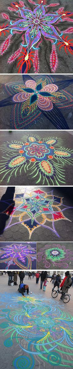 Mandala designs done in sidewalk chalk however they could be done on flooring or deck with paint-stain-etc. Psychedelic Art, Art Indien, Street Art, Wall Street, Instalation Art, Sidewalk Chalk Art, Wow Art, Public Art, Urban Art