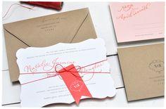Romance Script Wedding Invitation suite   Romantic pink and red wedding invitation fancy cut   Smitten On Paper
