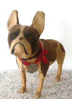 "12"" Cloth Covered Brindle & Cream French Bull Dog Glass Eyes"