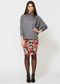 People Tree | Brooke Ruched Pencil Skirt in Winter Floral Print
