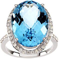 Oval Sky Blue Topaz & Diamond Ring