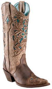 Corral® Ladies Brown w/ Turquoise Inlayed Floral Tool Pointed Toe Western Boots | Cavender's