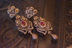 Diamond and ruby earrings Diamond Earrings Indian, Gold Jhumka Earrings, Jewelry Design Earrings, Ruby Earrings, Antique Earrings, Designer Earrings, Diamond Jewelry, Gold Jewelry, Jewellery Designs