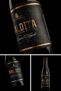 This label was made for a special edition oak barrel aged beer. 'Maldita' always. Wine Bottle Design, Wine Label Design, Wine Bottle Labels, Beer Label, Wine Logo, Premium Beer, Wine Brands, Bottle Packaging, Wine And Beer