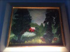 Original artist signed painting, circa 1967.  Original wood frame.