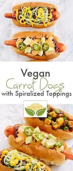 Vegan Carrot Dogs with Spiralized Toppings (Four Ways!)… – Trick to a Gout-Free Life! Veggie Recipes, Whole Food Recipes, Vegetarian Recipes, Cooking Recipes, Cooking Games, Healthy Food Blogs, Healthy Eating, Healthy Recipes, Vegan Foods