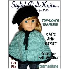 Pdf doll knitting pattern, fits 18 inch and American Girl dolls. (Maplelea Girl, Gotz, Madame Alexander) Lovely cabled front with matching cabled headband. Crochet Doll Clothes, Knitted Dolls, Crochet Dolls, Knitted Cape Pattern, American Girl, Girls Cape, Crochet Wedding Dresses, Dolly Fashion, How To Start Knitting
