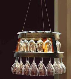 Wine barrel chandelier glass holder, love this idea!