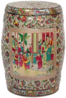Beautiful Chinese porcelain garden stool. Gorgeous colors.