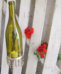 Wine Bottle Lanterns/Candle Holders - GLASS CRAFTS - Hello Everyone!These are some new Wine Lanterns that I have made. Wine Bottle Lanterns, Wine Bottle Corks, Wine Bottle Crafts, Wine Craft, Wine Decor, Recycled Bottles, Recycled Glass, Home Candles, Bottles And Jars