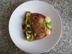 Porc  farci  et  panè avec    une  courgette    ,sauce   au  vin rouge  et  maltais  Gino D'Aquino