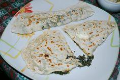 Gözleme stuffed with spinach and feta