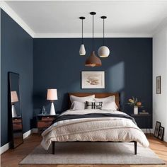 Maybe I'll paint the other wall blue in my room too - Schlafzimmer Dunkelblau - . Maybe I'll paint the other wall blue in my room too - Schlafzimmer Dunkelblau - Dream Bedroom, Home Decor Bedroom, Master Bedroom, Bedroom Furniture, Classic Bedroom Decor, Furniture Ideas, Diy Bedroom, Bedroom Ideas Paint, Bedroom Wall Colour Ideas