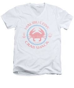 Malibu V-Neck T-Shirt featuring the digital art Malibu Cove Crab Shack by SoCal Brand. Malibu Cove Crab Shack is that spot hidden off Pacific Coast Highway in Malibu that only the locals know, selling the best crab and seafood around. This design features a vintage, worn and faded look in a super comfortable t-shirt. Using vintage typeface and worn look setting off a crab flanked by anchor and trident.