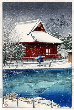 torii gallery: Snow at Shinobazu Benten Shrine by Kawase Hasui Japanese Art Prints, Japanese Painting, Chinese Painting, Art Occidental, Hokusai, Japanese Illustration, Botanical Illustration, Art Asiatique, Art Japonais