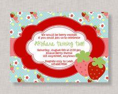 Strawberry Birthday Invitation Strawberry Birthday Party