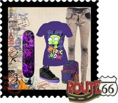 """Skate boarding down Route 66"" by sperrbear101 ❤ liked on Polyvore"