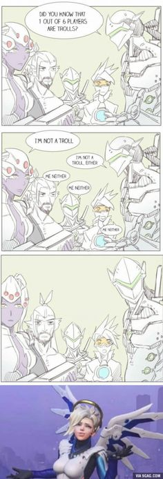 "Mercy be like: ""what are you gonna do? kick me?"" (comic by ARKA)"