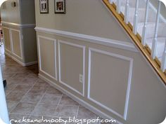 mock wainscotting-love wainscotting and moulding!