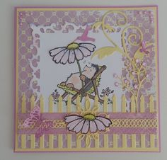 Penny Black Lazy Days stamp, Cheery Lynn fence and Tropical flourish