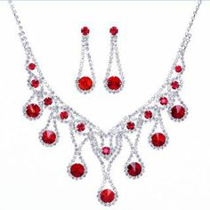 Fancy Alloy with Red Rhinestone Wedding Jewelry Set: USD $9.68