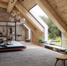 I like the size of the room and beams but not the color of the wood