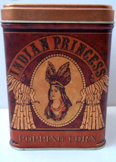 Vintage Indian Princess Popping Corn Tin by Purplevelvet711