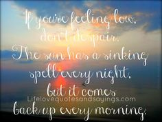 """""""If you're feeling low, don't despair. The sun has a sinking spell every night, but it comes back up every morning. Uplifting Messages, Motivational Messages, Great Quotes, Love Quotes, Funny Quotes, Tomorrow Is A New Day, Good Morning Gif, Quote Board, Just Love"""