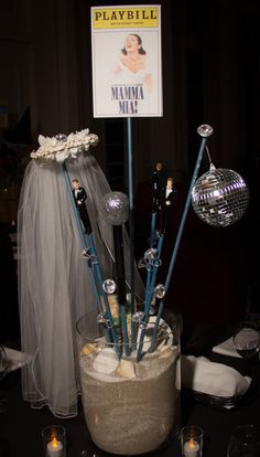 Mamma Mia Centerpiece Broadway Bat Mitzvah #BatMitzvahCenterpiece for rent Broadway party theme ideas #DIY #Broadway #DIYCenterpiece