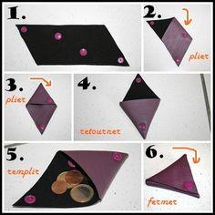 porte_monnaie fait en 5 minutes!!!!  Voici à quoi ressemble le patron: 4 triangles équilatéraux de côté 8 cm