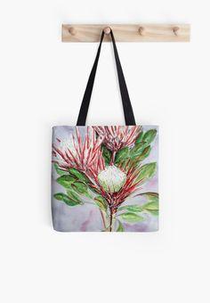 Fantastic tote bag with beautiful Protea flowers originally painted in watercolors.  #protea #flower #tote #bag #art
