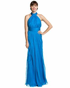 Some of you have to get in on this: Badgley Mischka Bright Blue Silk Halter Gown